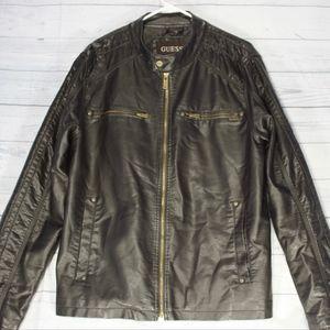 Guess Men's Jacket Bomber Motorcycle Black Large